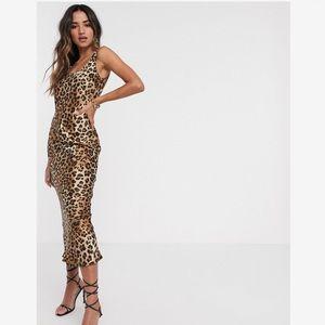 Scoop neck midi satin slip dress in leopard print